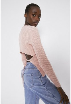 Pink Textured Open Back Knit Top