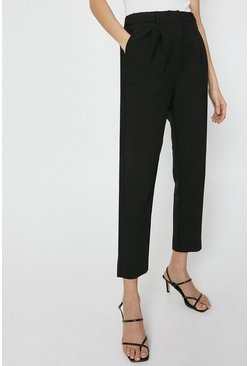 Black Elastic Back Tailored Peg Trouser