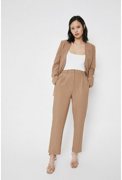 Camel Elastic Back Tailored Peg Trouser