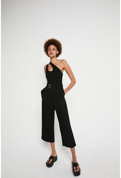 Black Belted Wide Leg Trouser