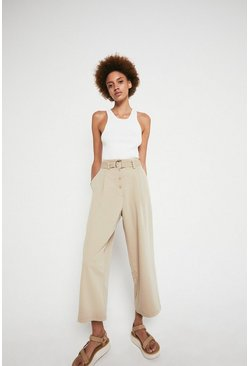 Sand Belted Wide Leg Trouser