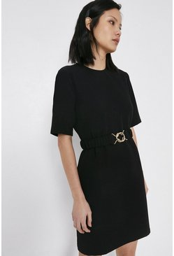 Black Crepe Dress With Gold Buckle Belt