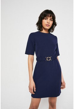 Navy Crepe Dress With Gold Buckle Belt
