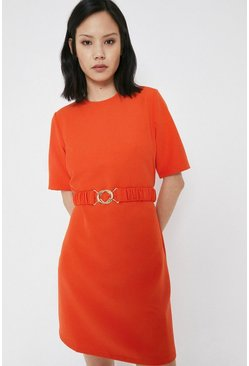 Red Crepe Dress With Gold Buckle Belt