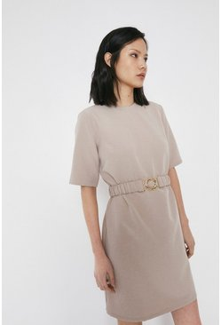 Stone Crepe Dress With Gold Buckle Belt