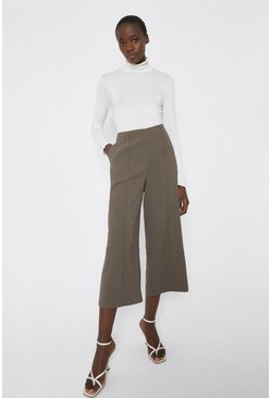 Taupe Wide Crop Trouser