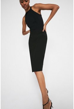 Black Seamed Detail Pencil Skirt