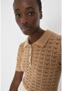 Camel Stitch Detail Polo Neck Knitted Tee