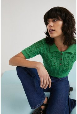 Green Stitch Detail Polo Neck Knitted Tee