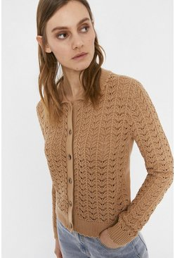 Camel Stitch Detail Polo Neck Cardigan