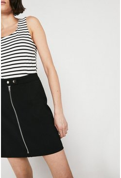 Black Zip Front Pelmet Skirt