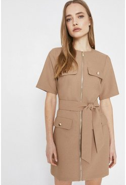 Camel Zip Front Pocket Detail Shift Dress