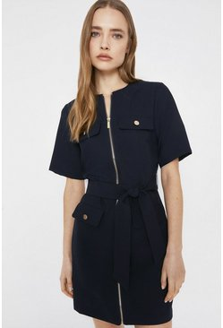 Navy Zip Front Pocket Detail Shift Dress