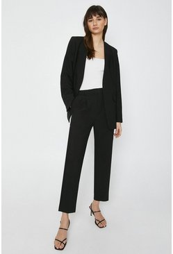 Black Collarless Edge To Edge Blazer