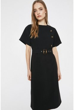 Black Asymmetric Button Detail Belted Soft Shift Dress
