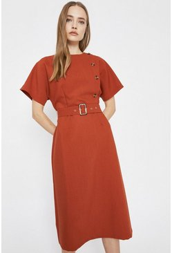 Brick Asymmetric Button Detail Belted Soft Shift Dress