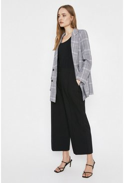 Black Tab Side Detail Wide Crop Trouser
