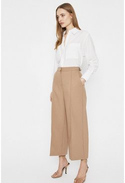 Camel Tab Side Detail Wide Crop Trouser