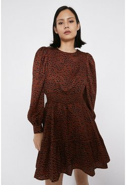 Rust Mini Dress With Frill Hem In Spot Print