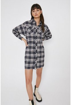 Multi Fitted Waist Check Shirt Dress