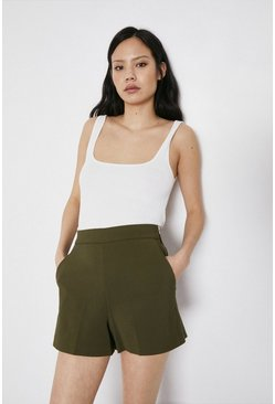Khaki Compact Cotton Short