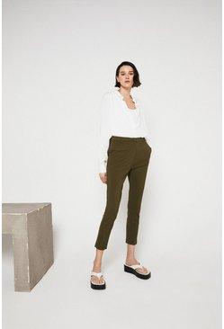 Khaki Compact Cotton Slim Leg Trouser