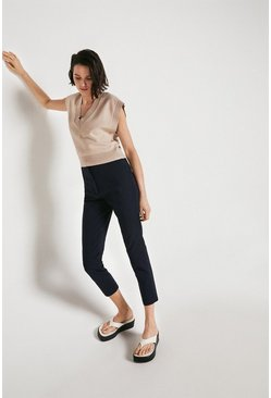 Navy Compact Cotton Slim Leg Trouser