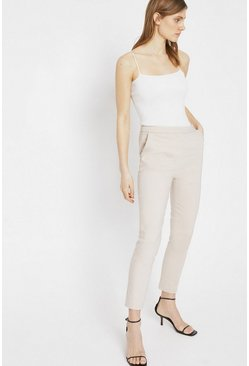 Stone Compact Cotton Slim Leg Trouser