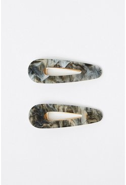 Grey 2 Pack Marble Hair Clips