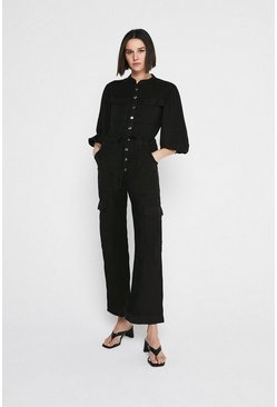 Black Soft Tencel Utility Boilersuit