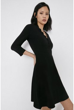 Black Scallop Neck Ponte Dress
