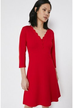 Red Scallop Neck Ponte Dress