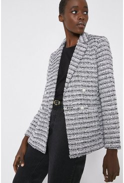 Multi Tweed Blazer With Pearl Buttons