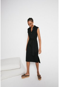 Black Pique Utility Belted Dress