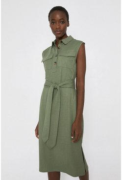 Khaki Pique Utility Belted Dress