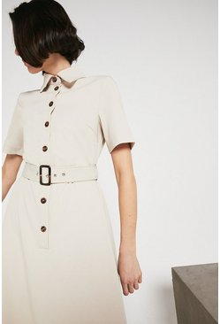 Ecru Button Through Belted Midi Shirt Dress