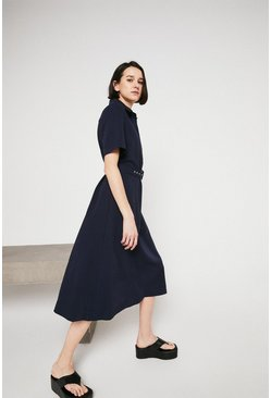 Navy Button Through Belted Midi Shirt Dress
