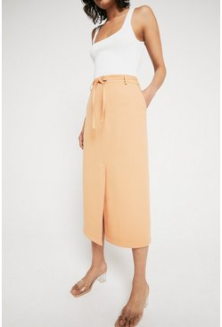 Peach Split Front Pencil Skirt With Skinny Tie