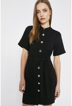 Black Button Through Pocket Detail Crepe Dress