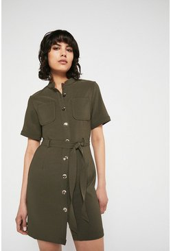 Khaki Button Through Pocket Detail Crepe Dress