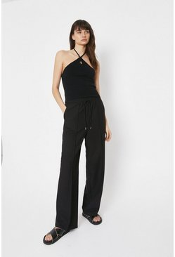 Black Elastic Waist Wide Leg Trouser