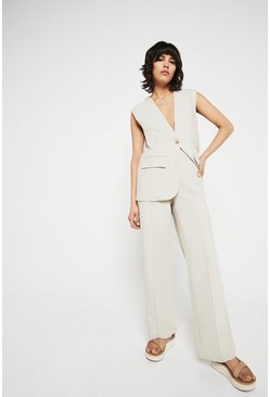 Ecru Relaxed Clean Front Wide Leg Trouser