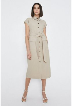 Camel Utility Pocket Shirt Dress With X Over Belt