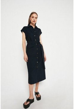 Navy Utility Pocket Shirt Dress With X Over Belt