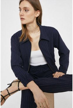 Navy Pinstripe Tailored Bomber Jacket