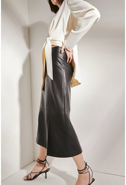Black Faux Leather Split Front Pencil Skirt