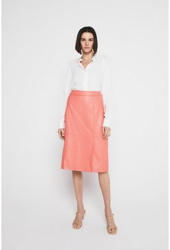 Coral Faux Leather Split Front Pencil Skirt