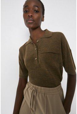 Khaki Linen Mix Knitted Collared Tee