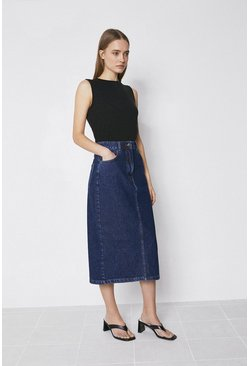 Dark wash Organic Cotton Split Back Denim Midi Skirt