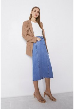 Light wash Organic Cotton Split Back Denim Midi Skirt
